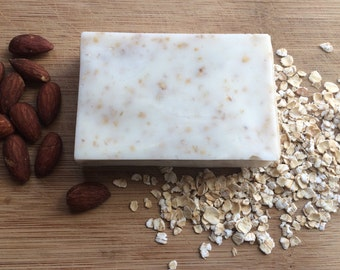 Honey Almond Oatmeal and Goat's Milk Soap, Organic Oatmeal Soap, Soothing Natural Oatmeal Soap