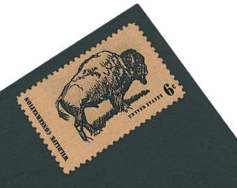 25 Buffalo Stamps - 6c - Vintage 1970 - Wildlife Conservation - Quantity of 25