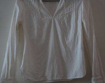 Get 15% off with code NEW15 beautiful off white blouse 90!  Peasant/Boho linen/cotton 6