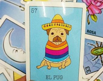El pug loteria glossy vinyl sticker!