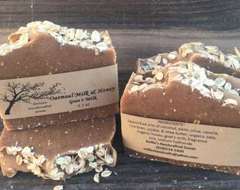 Oatmeal Goat's Milk & Honey Soap Bar - Sensitive Skin Soap - Exfoliating Soap - Natural Handmade Soap - Cold Process Soap - Gift Ideas