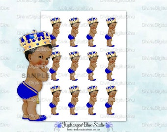 Little Prince Royal Blue & Gold Crown | Individual Baby and Collage Sheet | African American | Instant Download