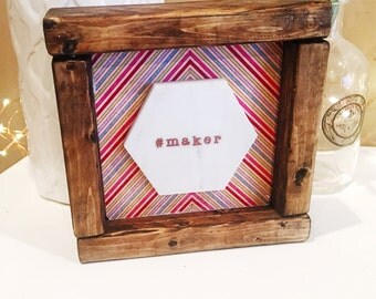 Wooden Maker Sign. Marble and Farmhouse Frame.