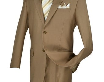 Classic-fit men's suit 2 bottons solid khaki suits new with tag