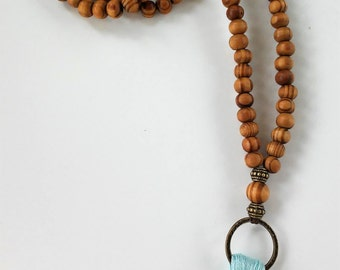 Mala Necklace - 108 + 1 bronze and wooden beads Mala Necklace - Meditation Necklace - Collar para meditación - tassel necklace - japa mala