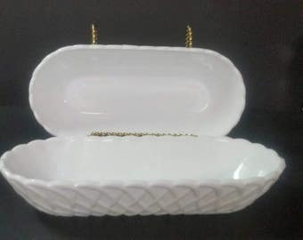 Vintage milk glass oval bowls.  Set of 2. Lattice or pretzel pattern.