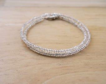 Crystal Quartz Two Rows Bracelet, Wrap Around Bracelet Crystal, Quartz Bracelet, Crystal Bracelet, Dainty Bracelet, Boho Crystal