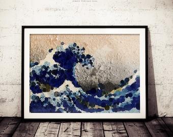The Great Wave off Kanagawa Katsushika Hokusai Lowpoly Circle Geometric Abstract Art, Original Abstract Version Rustic Paint Chipping Print