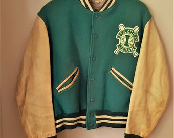 Military Korean War Jacket Wool and Leather from Itazuke Air Force Base 1954 Baseball Team on Base Jacket  Military Memorbilia
