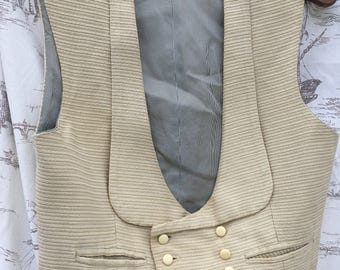 Fabulous French Antique Cream Men's Double Breasted Waistcoat / Ribbed Velvet with Eight Buttons Two Pockets / Parisian French Elegance