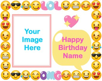 Emoji Edible Cake Topper, With or Without Photo image,Emoji Birthday Party
