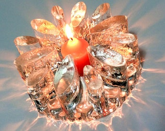 Vintage Scandinavian/German heavy glass teapot warmer/candle holder, with beautifully sparkle quality