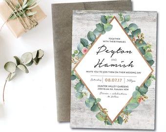 Greenery geometric wedding invitation, eucalyptus geometric wedding invitation, natural, greenery, wood, rose gold, garden, boho  (Peyton)