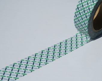 Green Chequered Stripe Washi Tape - Green and Blue Washi Tape