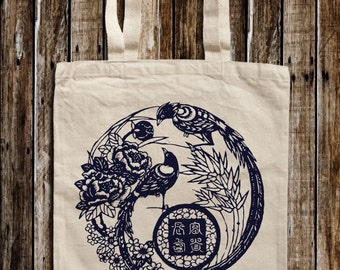 Oriental Bird Graphic Print Canvas Tote Bag