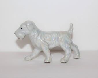 Vintage Terrier Dog Ceramic White Iridescent Figurine