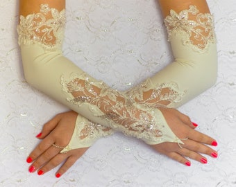 Opera gloves ivory, long gloves, ivory wedding gloves, bridal gloves, gloves
