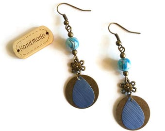 Earrings flowers Bohemians - marbled beads - drops Nespresso coffee Capsules - recycling - ethnic - blue Bronze