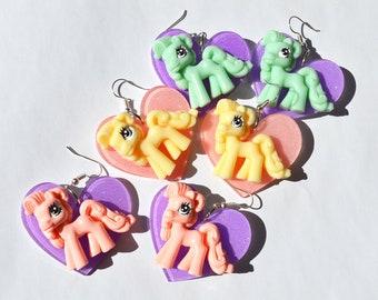 Little pony heart earrings kawaii