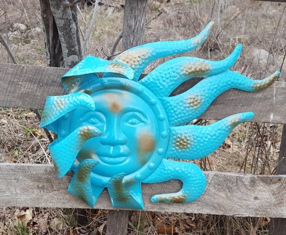 Large metal sun wall art turquoise antique brasss garden decor - Massieve decoratieve tuin ...