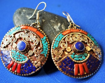 Lovely Earrings Handmade . Inlaid with Turquoise, Coral and Lapis Lazuli .