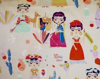 """Alexander Henry - Frida Kahlo """"Esperanza"""" background Beige"""