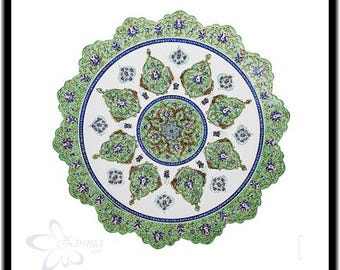 Persian Decorative Enameled Copper plate