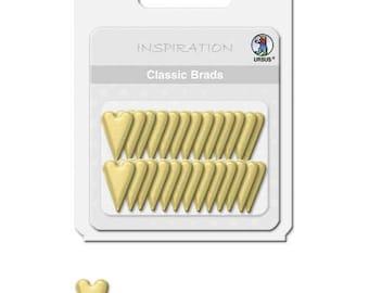Lot of 26 fasteners Brads heart Paris, Golden - ties Paris gold - 74040015