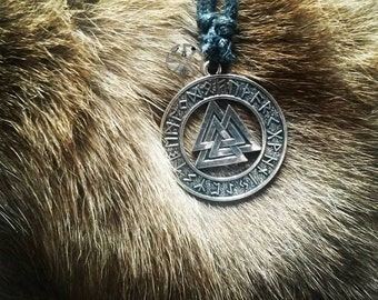 """Valknut with runes necklace """"""""knot of those fallen in battle"""""""