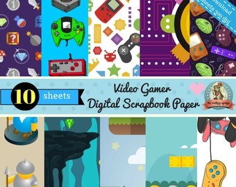 Video Game Printable Scrapbook Paper-Digital Instant Download 12 x 12 sheets Qty 10