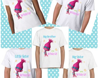 Troll Matching Adult  Birthday Tees; Coordinating TShirts For Mom, Dad, Aunt, Uncle, Grandma, Grandpa And More