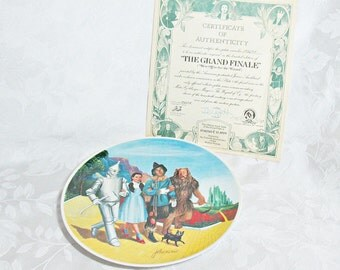 Vintage Bradford Exchange Wizard of Oz Collectible Plate - The Grand Finale - Final Plate in Series - With Certificate of Authenticity