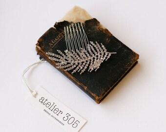 Silver Crystal Leaf Bridal Hair Comb, Vintage Bridal Fern Headpiece, Art Deco Crystal Hairpiece, Vintage Crystal Bridal Headpiece