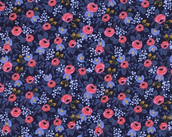 COTTON Rosa in Navy by Rifle Paper Co, Les Fleurs Collection for Cotton and Steel, 100% Cotton Fabric, Quilting Cotton, 8004-2