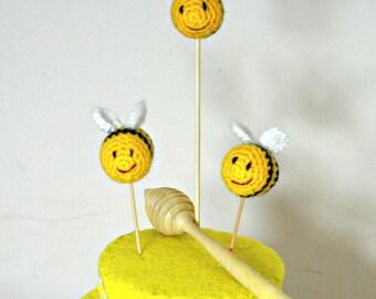 3 Set Mini Bumble Bees Cake Topper - Cupcake Topper - Celebration Decor - Weddings, Parties, Bdays