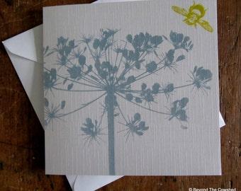 Original 'fennel seed head' screen printed card