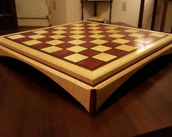 Purple heart,quilted maple with ebony inlay chessboard