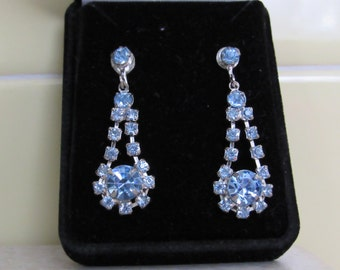Something Blue - Vintage 1940/50 crystal chandelier earrings - converted from clip on to pierced
