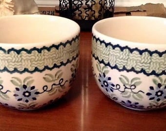 Large Polish Pottery Latte Cups