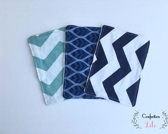 Trio of reusable wipes, lined with minky