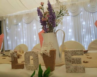 Rustic Hessian Vintage Lace Wedding Love Letters for table decoration