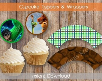 The Good Dinosaur Cupcake Wrappers and Toppers Good Dinosaur Digital Cupcake Wrappers and Toppers Dinosaur Birthday Party INSTANT DOWNLOAD