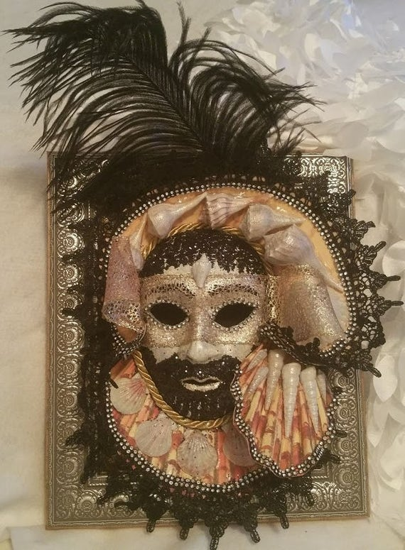 "Handcrafted, Original, Venetian Style Mask, in 8 x 10 inch Decorative Frame, ""Caribbean Pirate"", created by Maskweaver, Soraya Ahmed"