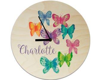 Butterflies Watercolour Style Personalised Childrens Clock / Kids Clock