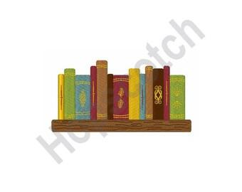Books On Shelf - Machine Embroidery Design