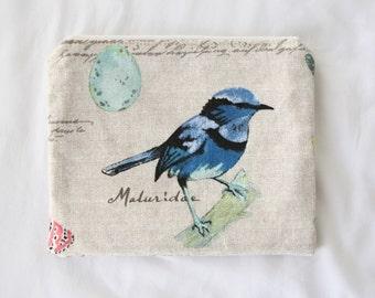 Zipper pouch | vintage bird motif | 19cm x 15cm
