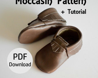 INSTANT DOWNLOAD Leather Baby Moccasin Pattern // Leather Moccasin Pattern // Moccasin Pattern Download // Mocc Pattern // Baby Moccasins