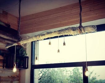 Suspension lamp with reclaimed wood
