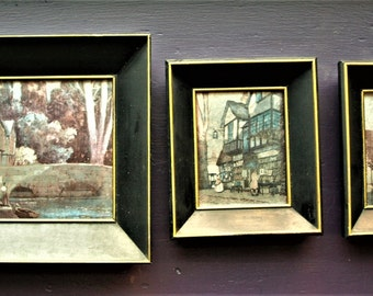 vintage set of three silvertone reflective surface old world town image prints in black deep