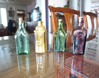 Lot of 4 Vintage Miniature Wheaton Bottles Made in Taiwan